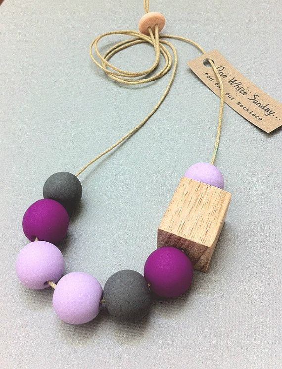 Handmade Clay and Timber Block Necklace - Neon Purple, Lilac and Grey by Etsy seller One White Sunday.