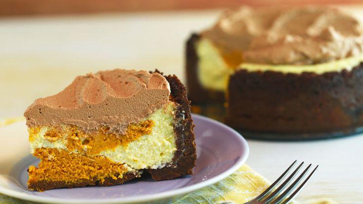 Carla Hall's Slow-Cooker Pumpkin Swirl Cheesecake with chocolate graham crust!