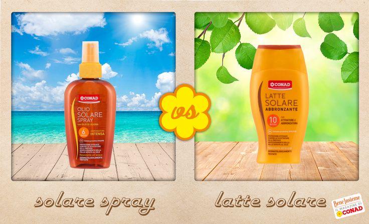 Che tipo da spiaggia sei? Da #lattesolare o da #oliosolare?  Se sei indeciso, fai un paragone tra i prodotti e scegli quello più adatto a te!