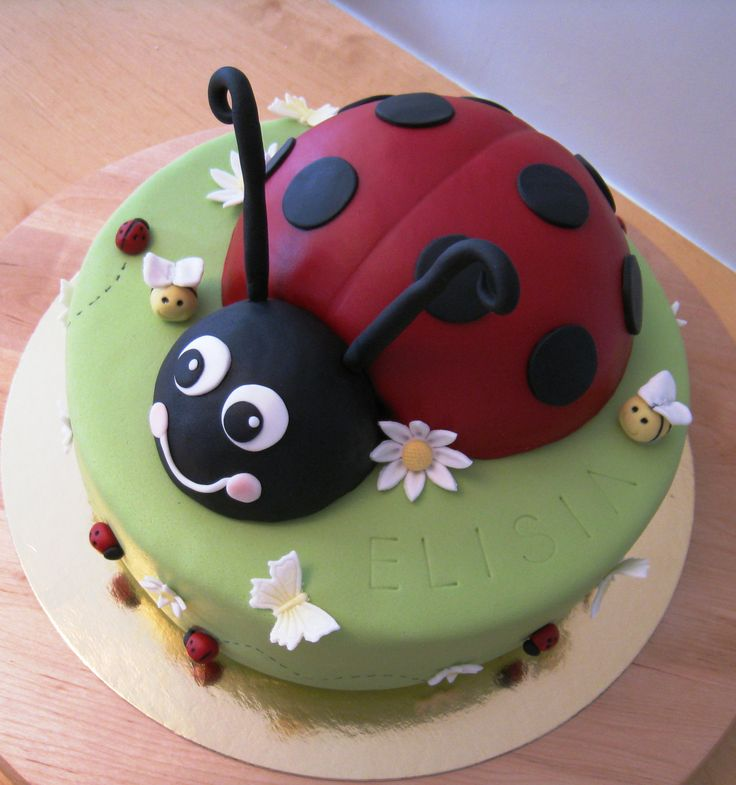 Ladybird cake - A ladybird cake for a 3 year old girl. The ladybird is cake except for the head that is RKT. The feelers are spagetti with gumpaste. Filled with raspberry mousse and milk chocolate ganache. Covered in fondant. Inspired by serveral ladybird cakes here on CC! TFL!