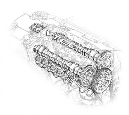 Honda S2000 cutaway drawing of the camshafts Cutaway