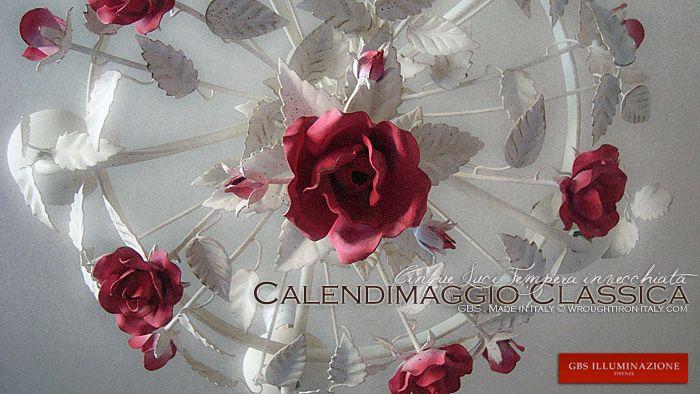 Dalla collezione Calendimaggio di Rose, la versione a cinque, foglie bianche e rose rosse. Gbs Chic è lo stile shabby romantico di GBS, perfetto per la camera da letto, per la cameretta e in qualsiasi ambiente di ricercato gusto romantico e floreale. Made in Florence. Design: Gianni Cresci. http://www.wroughtiron-italy.com/tag/shabby-chic-romantico/