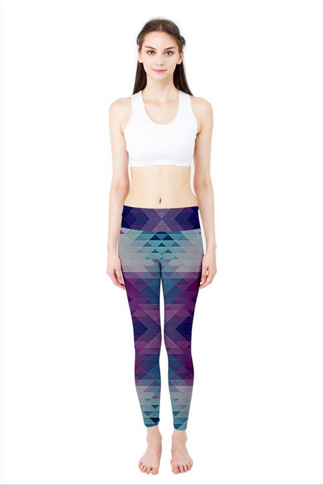 HIPSTERIA Yoga Leggings #leggins #abstract #geometric #yoga #purple #blue #nikamartinez