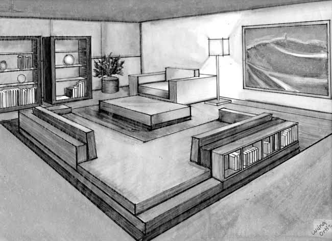 Image Result For Two Point Perspective Drawing Room Interior