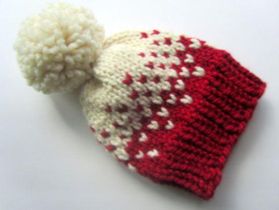 Fair Isle de punto sombrero sombrero de Fair Isle punto rojo