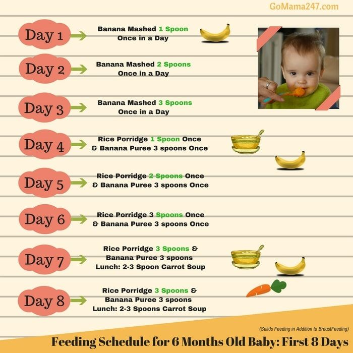 feeding schedule of a 6 months old baby | Baby food chart ...