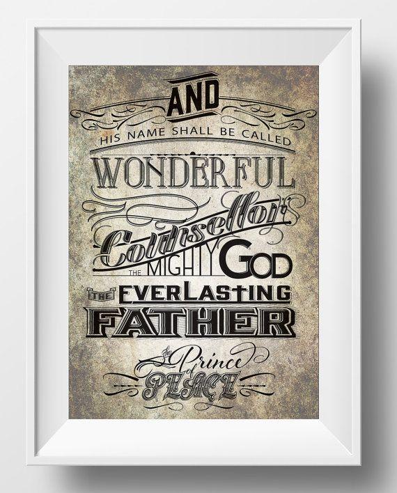 Isaiah 9:6 Typography Verse Print  Bible by TheCuttingEdgeShop