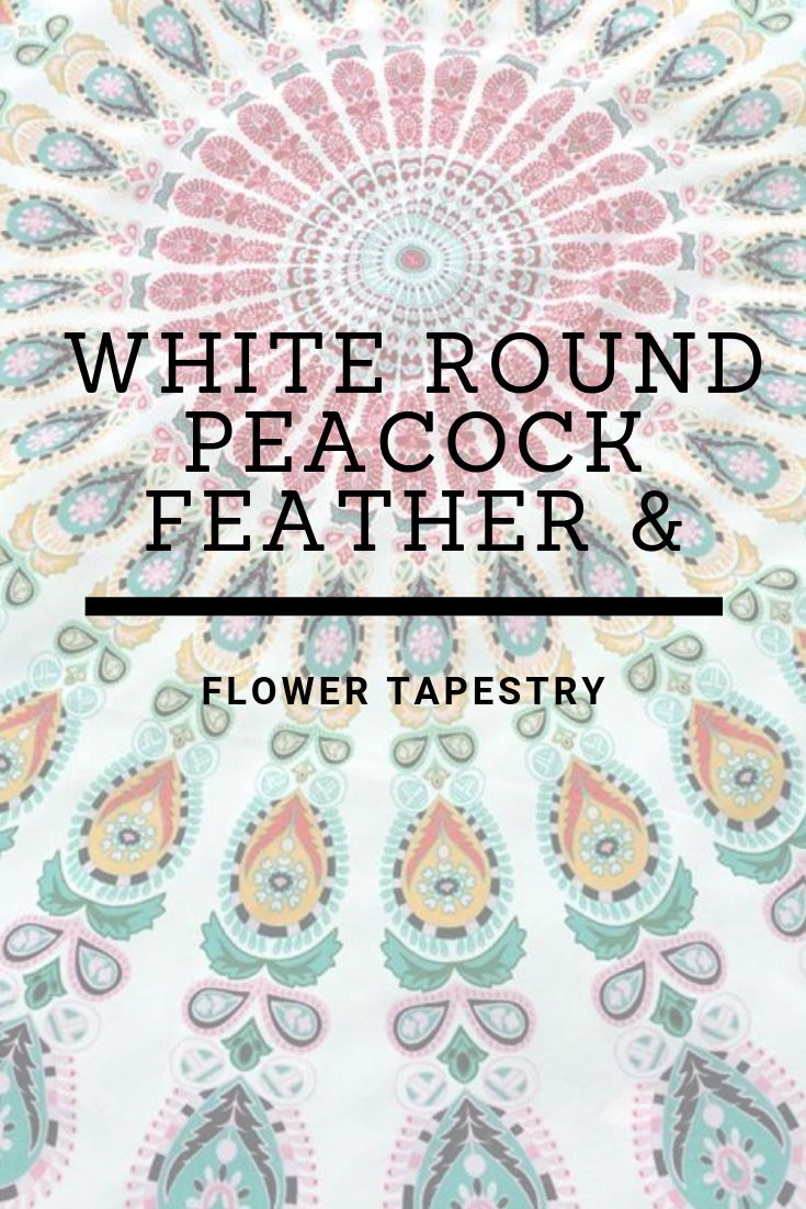 White Round Peacock Feather & Flower Tapestry
