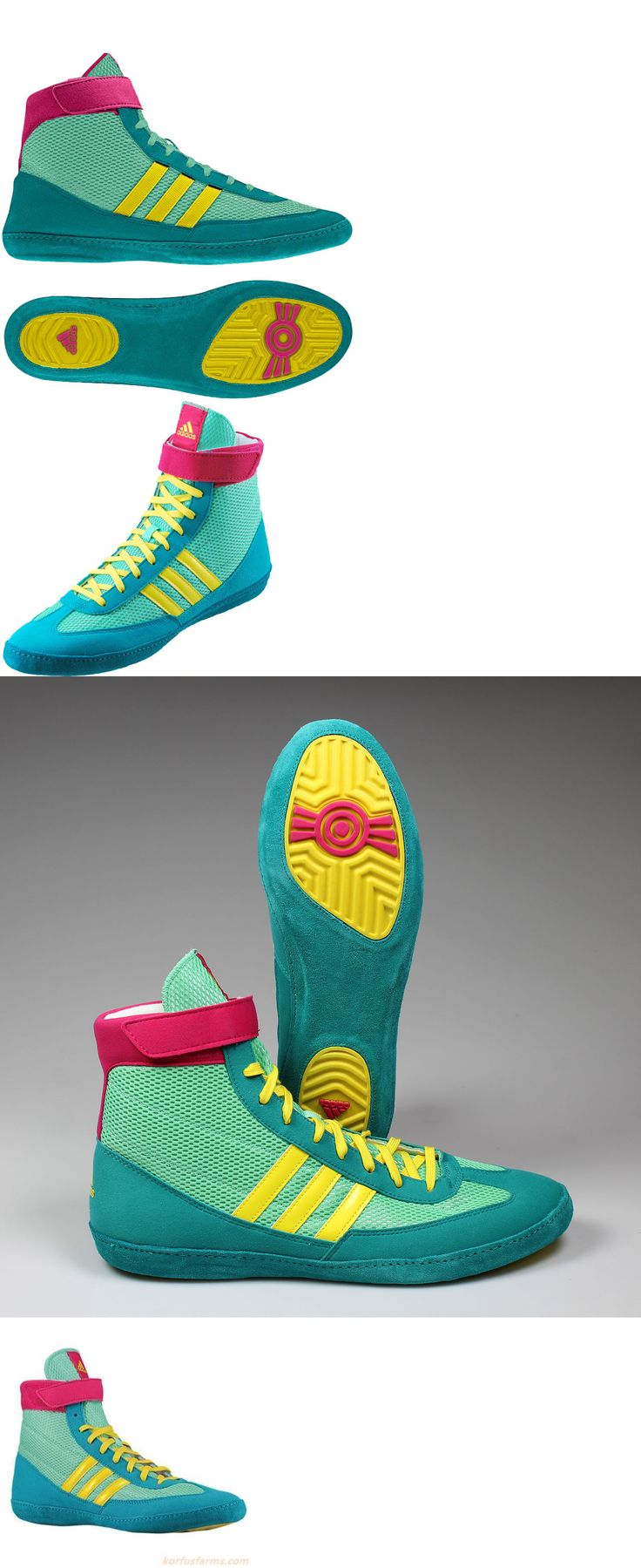 Clothing 79796: Adidas Wrestling Shoes (Boots) Combat Speed 4 Ringerschuhe Cyan Lemon Mma Boxing -> BUY IT NOW ONLY: $74.99 on eBay!
