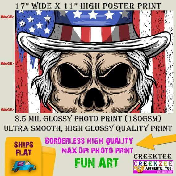11x17 Poster Photo Print Art Uncle Sam Skull Fun Poster Landscape Orientation High Quality Glossy Smooth Photo Print Poster Prints Art Prints Magnetic Bumper Stickers