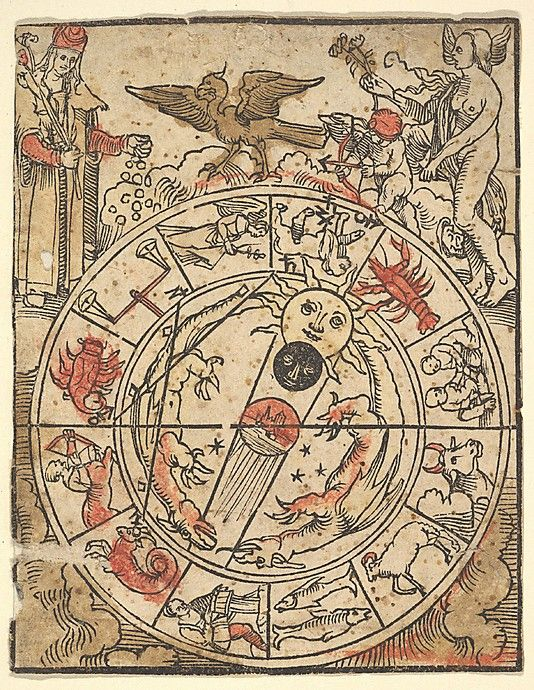 Chart of the Signs of the Zodiac with Venus, Cupid, and a Bishop Saint