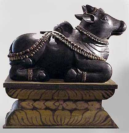 Nandi, Sacred Cow in Hinduism. Ancient Hindu Temple Site Reveals Statue of Lord Shiva's Sacred Bull