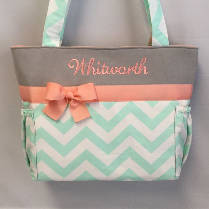 Personalized TOTE ... MINT Chevron ... Light CORAL and Gray Accents ... Diaper Bag ... Bottle Pockets ...  Monogrammed  FReE by TweedleTotes on Etsy