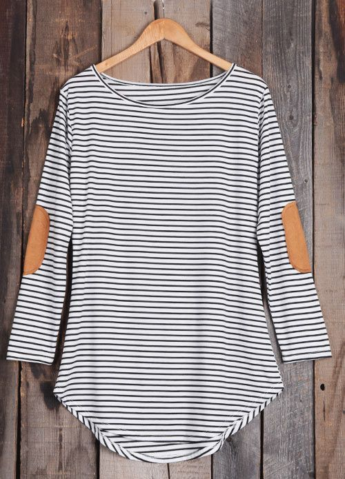 Start your casual day with Only $18.99! This ultra comfy striped high low dress features a delicious cotton/spandex blend and suede patch at elbow that'll make you feel right wherever you are. Make it yours Now!
