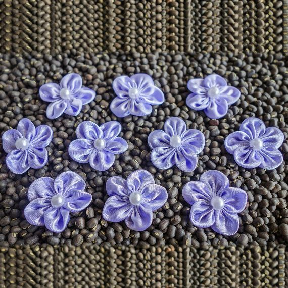 Purple small Shiny Gathered Woven Ribbon Flower by ColourCocoon