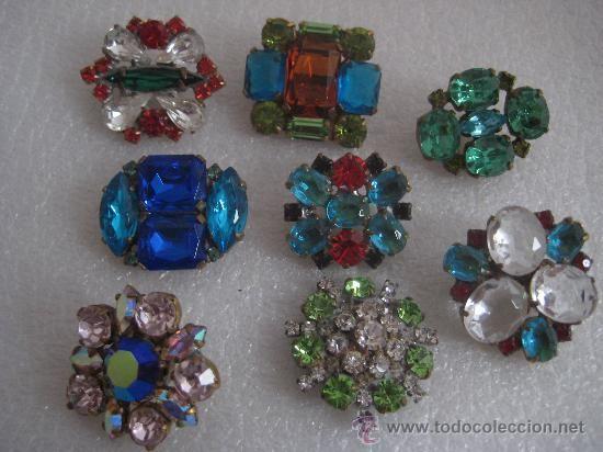 Precioso lote de ocho botones antiguos de cristal de bohemia (Vintage - Moda - Complementos)