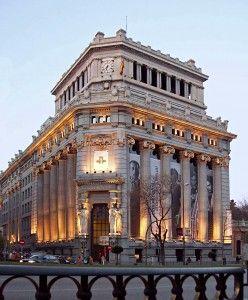 View of Cervantes Institute headquarters (former Rio de la Plata Bank building) in Madrid (Spain) from Calle de Alcala (street).