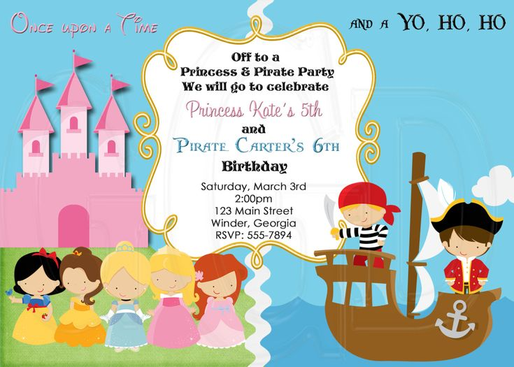 14 best beans pirate 4th images – Princess and Pirates Party Invitations