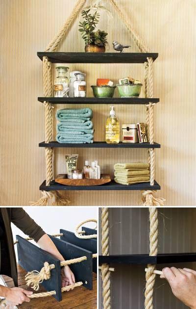 Crea tu propio toallero o estante de manera fácil y económica, solo necesitas un par de tablas bien lijadas pintadas al color de tu agrado y una cuerda gruesa.