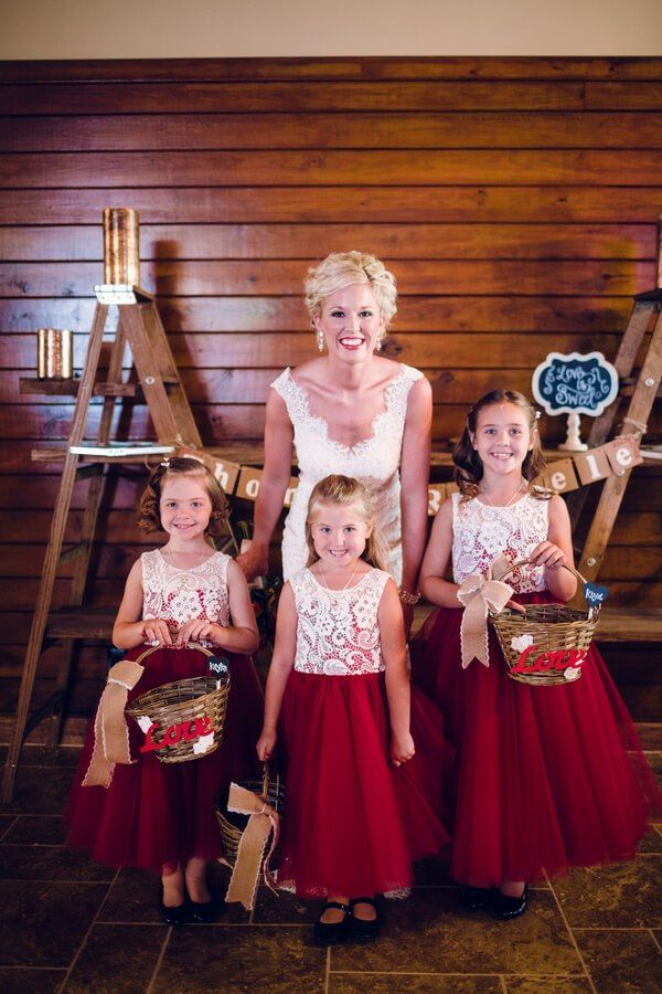 Rustic Tennessee Fall Wedding - Flower girls in red