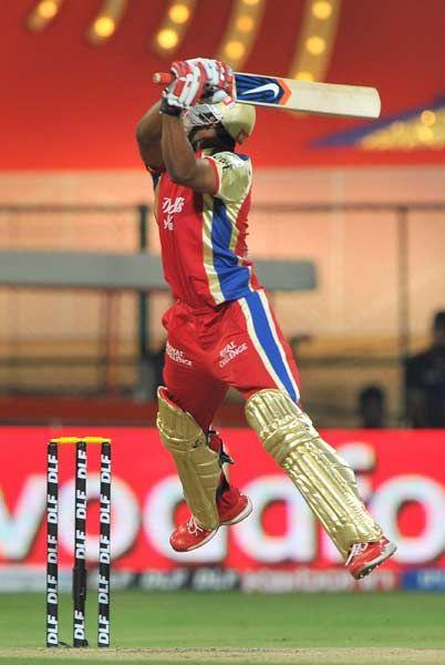 Royal Challengers Bangalore batsman Mayank Agarwal plays a shot during the IPL Twenty20 cricket match between Royal Challengers Bangalore (RCB) and Pune Warriors (PW) at the M. Chinnaswamy Stadium in Bangalore on April 17, 2012.