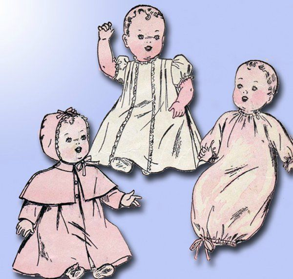 1940s Vintage 14 Inch Baby Doll Clothes 1946 Advance Vtg Sewing Pattern #Advance #BabyDollClothes