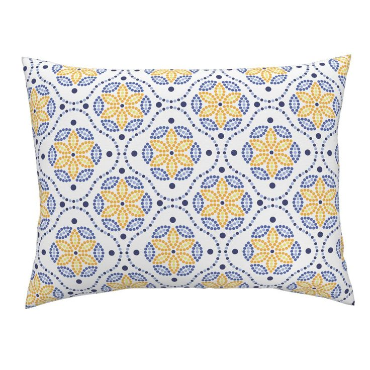 Campine Pillow Sham featuring Gaudi ceramics inspired dotted mosaic pattern  by milagrosvita | Roostery Home Decor