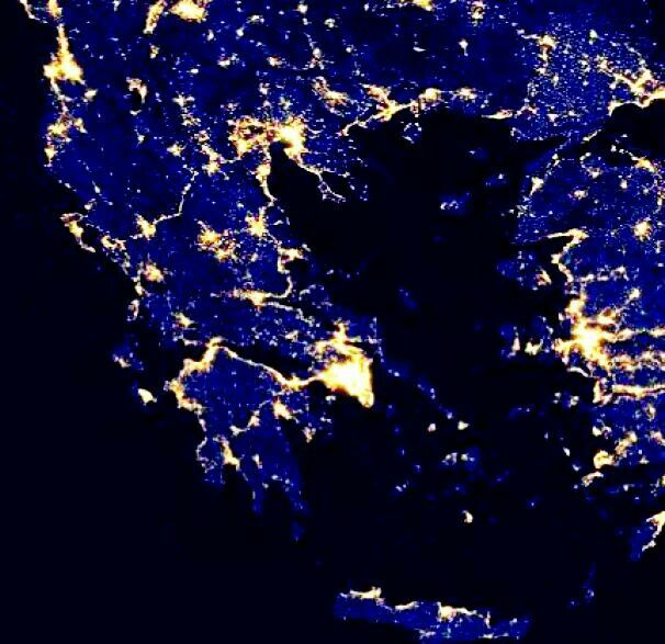 City lights of HELLAS as seen from space!!