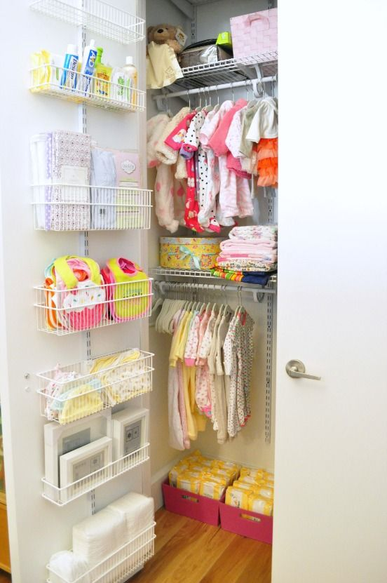A row of mini baskets offer a plethora of storage options, and make use of an often ignored space — the back of the door.