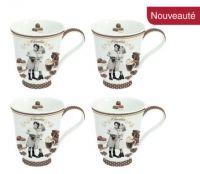 "Tazze Set 4 Mug In Porcellana Decoro ""Chocolatine"" € 31,90"