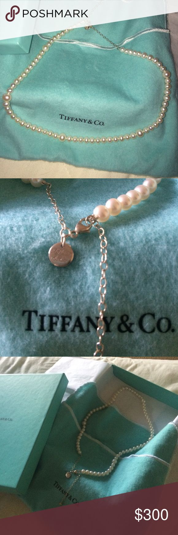 """Tiffany Pearl Necklace Timeless Tiffany pearls. 16"""" in length. Worn once. Comes in original bag and box. Tiffany & Co. Jewelry Necklaces"""
