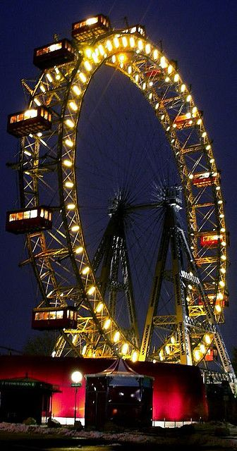 Riesenrad (Ferris wheel) in the Prater amusement park, Vienna, Austria. It is 64.75-metre (212 ft) tall.