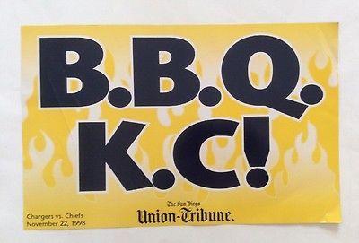 1998 San Diego Chargers Promo Placard Bolt Patrol BBQ KC Union-Tribune Newspaper