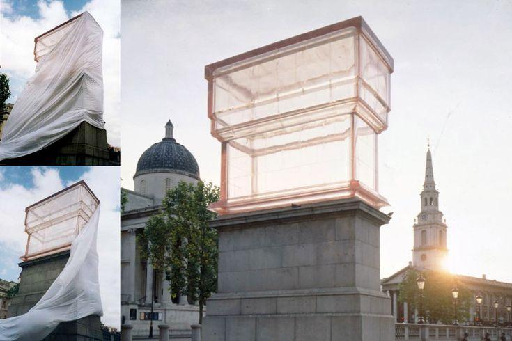 empty fourth plinth in resin, in London's Trafalgar Square for Rachel Whiteread.