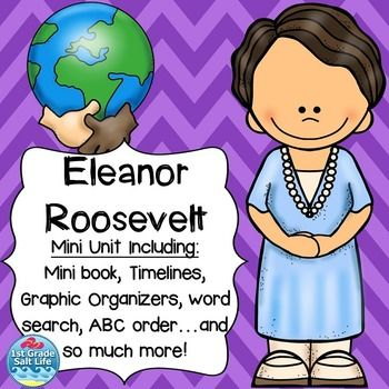 Eleanor Roosevelt Eleanor Roosevelt Eleanor Roosevelt famous AmericansThis product is part of our Famous American's Bundle! Save 20% on this pack and 4 others!Famous Americans BundleThis is a mini-unit all about Eleanor Roosevelt!  Included is  Eleanor Roosevelt anchor chart,  Eleanor Roosevelt KWL chart,  Eleanor Roosevelt fact/opinion sort, Eleanor Roosevelt true/false sort,  Eleanor Roosevelt timeline (color and b/w),  Eleanor Roosevelt make and take mini book, Eleanor Roosevelt drawing…