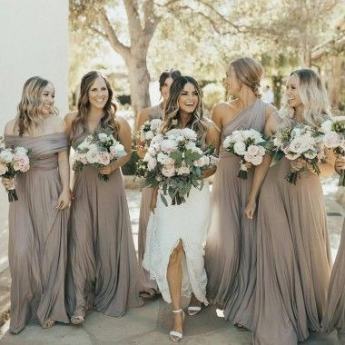 A-line off-the-shoulder floor-length light gray convertible bridesmaid dress