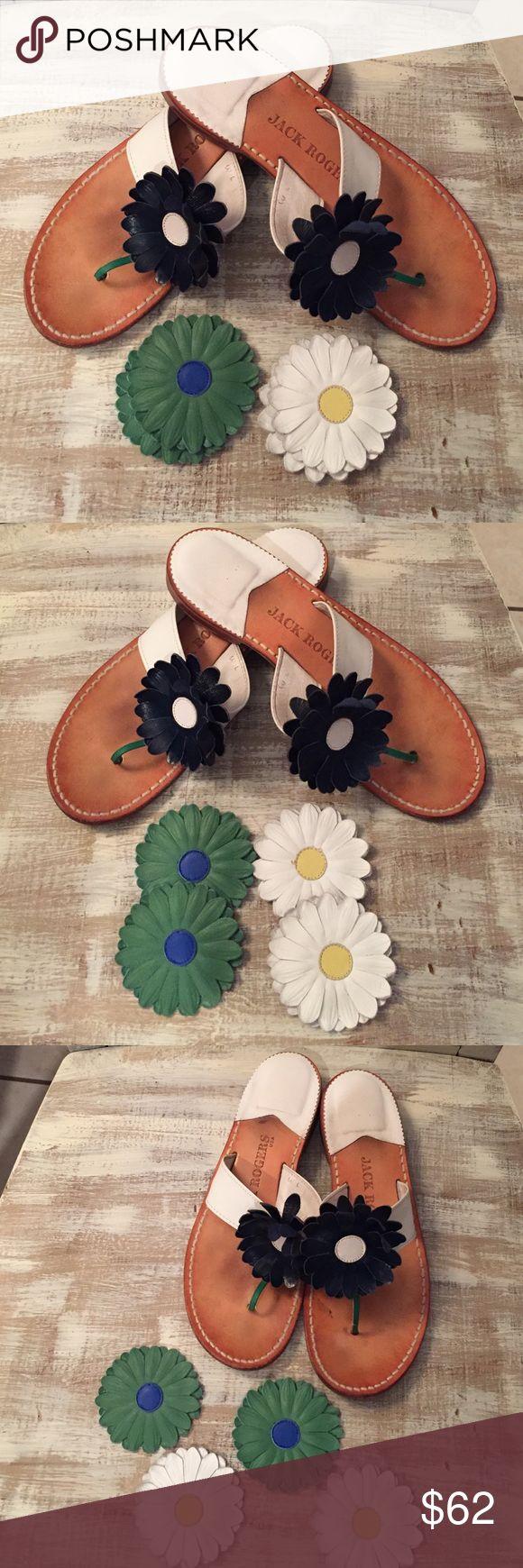 "JACK ROGERS Women's DAISY Sandals. Women's Jack Rogers Daisy Leather Sandals with two sets of ""New"" interchangeable Daisy's. Jack Rogers Shoes Sandals"