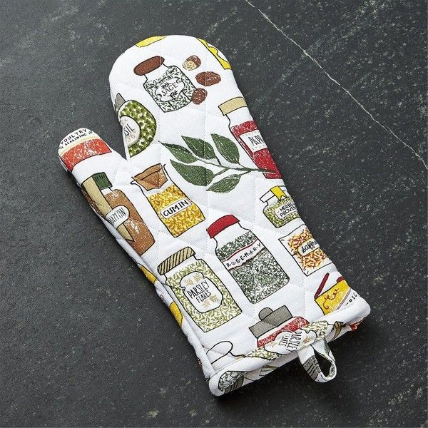 Crate & Barrel Spice World Oven Mitt ($9.95) ❤ liked on Polyvore featuring home, kitchen & dining, kitchen linens, spice jars, crate and barrel spice jars, crate and barrel, quilted pot holders and quilted potholders