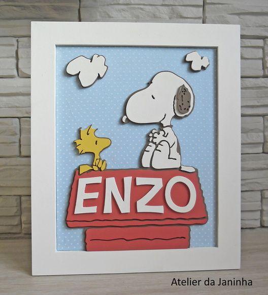 Placa+de+Maternidade+com+desenho+do+Snoopy+na+casinha+Escolha+o+nome!!+Peça+em+MDF+com+fundo+de+tecido.++Consulte-nos+sobre+outros+temas. R$ 120,00