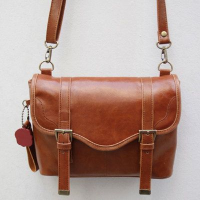 Leather-Canvas DSLR/SLR Camera Bag in Retro Brown  112
