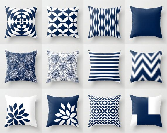 Navy and White Pillow Cover Throw Pillow Cover by HLBhomedesigns                                                                                                                                                                                 More