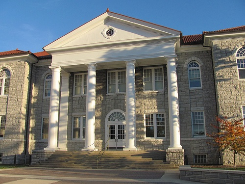 The original facade of Carrier Library, James Madison Univ. It's just a short bike commute from my home to this treasury of sources assisting me on the steady journey following the widening circle of topics, questions, interests, and necessities