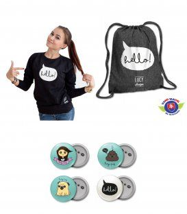 LucyPug set mikina batoh odznaky