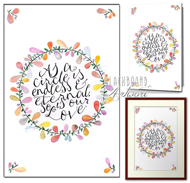 'Circle of Love' now available at www.redbubble.com/people/bbartworx/shop on cards and wall art. #typography #watercolour #iloveyou #wedding #anniversary #calliography