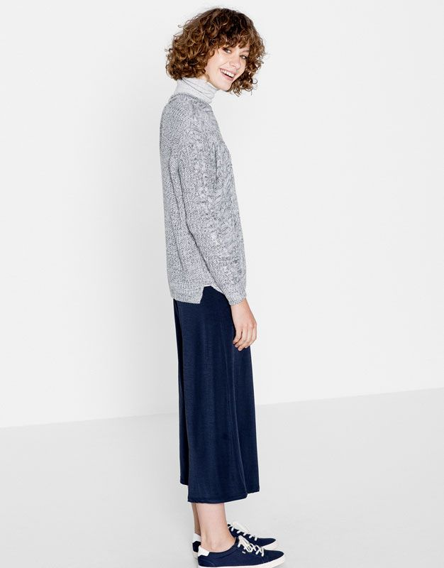 Basic cable-knit sweater - Sale - Woman - PULL&BEAR United Kingdom