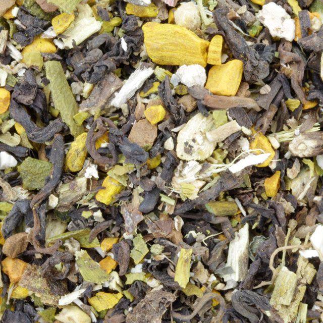 Ingrediënten: pu erh thee, paardebloemwortel, kurkuma, maretak, gember, kaneel, zoethout.  Kruidenthee ideaal bij reinigingskuren. Bevordert een goed functioneren van gal en lever, cholesterolverlagend.