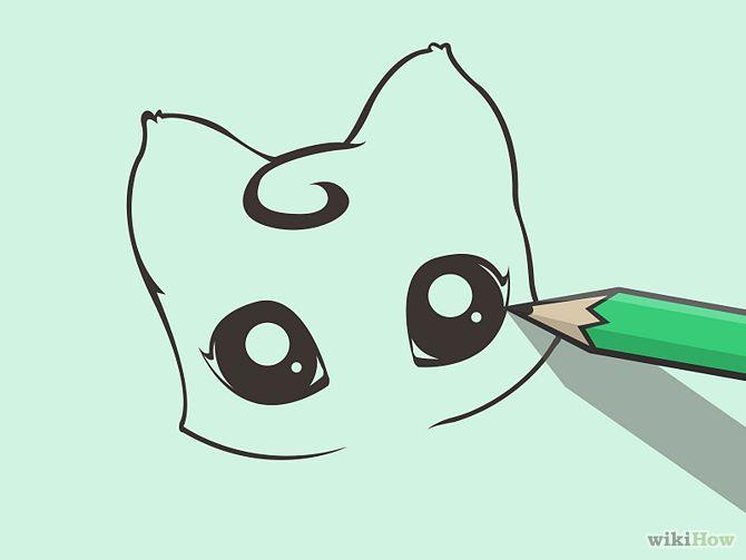 Cute Anime Eyes Drawing Draw a cute cartoon cat step ...