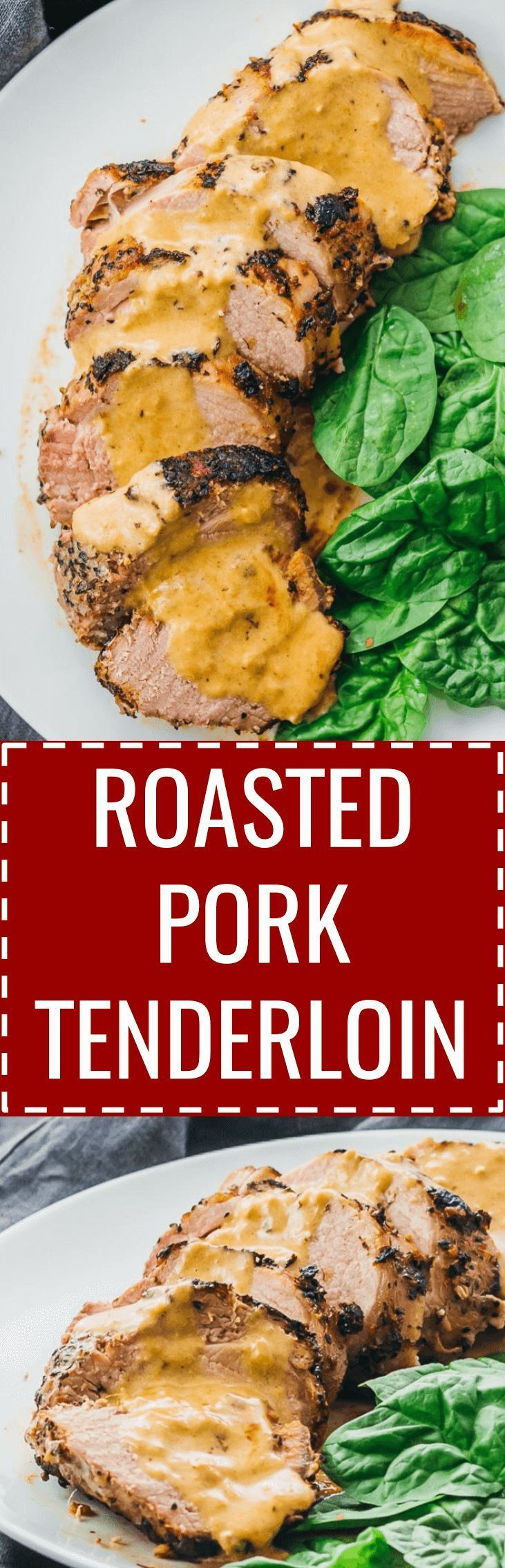 Here's an easy way to cook ultra-tender roasted pork tenderloin with a creamy mustard sauce. oven / baked / keto / low carb / diet / atkins / induction / meals / recipes / easy / dinner / lunch / foods / healthy / gluten free / paleo / how to cook / best / whole 30 / leftovers / dijon / 21 day fix / one pan / skillet / quick / stove top / sliced #pork #dinner via @savory_tooth