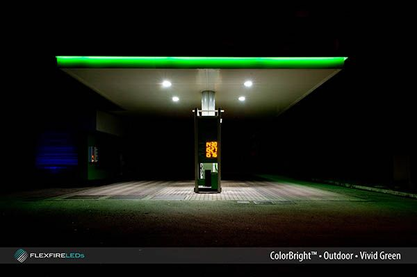 Outdoor ColorBright vivid green LED strip light keeping it calm at the gas station. #leds #ledlights