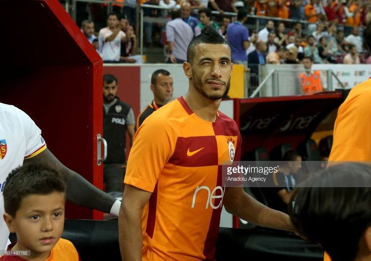 Younes Belhanda of Galatasaray reacts ahead of a Turkish Spor Toto Super Lig soccer match between Galatasaray and Kayserispor at Turk Telekom Stadium in Istanbul, Turkey on August 14, 2017.